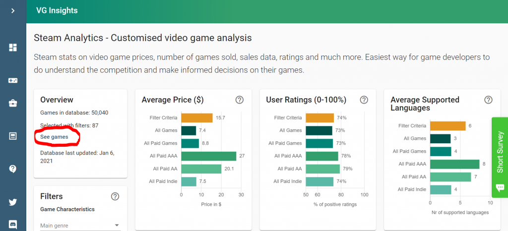 Video Game Insights - 'See games' button to see which games have been selcted